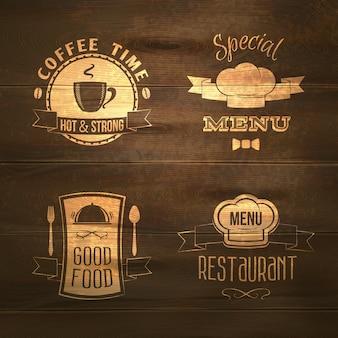Emblemas de cardápio de restaurante em madeira