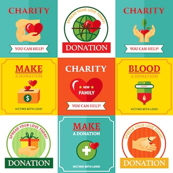 Emblemas de caridade design plano composição