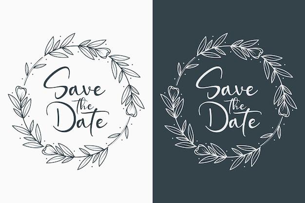 Emblemas de casamento florais minimalistas em estilo círculo