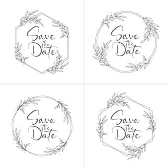 Emblemas de casamento florais mínimos desenhados à mão