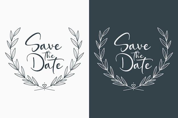 Emblemas de casamento florais mínimos