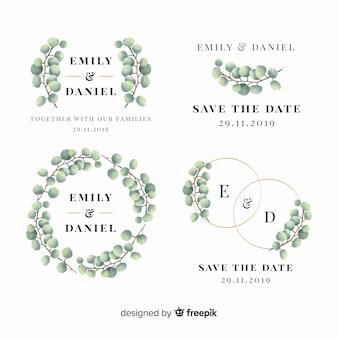 Emblemas de casamento floral mão desenhada
