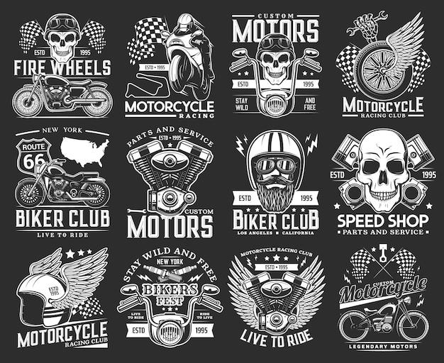 Emblemas de caveira de clube de motociclistas, corridas de motocicleta e passeios em pistas de corrida
