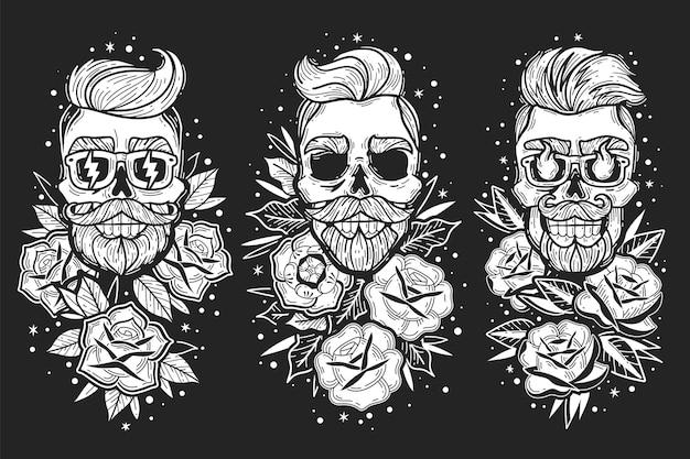 Emblemas de caveiras preto e branco de tatuagem de rosas antigas