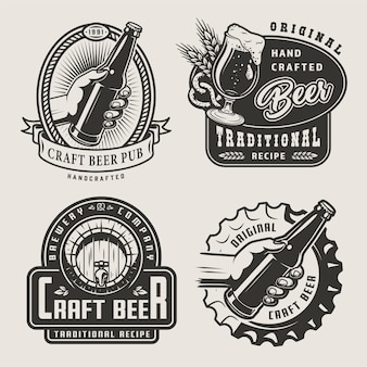Emblemas de cerveja artesanal vintage
