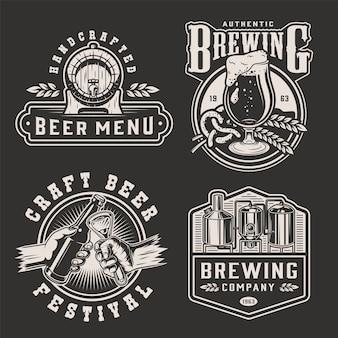 Emblemas de cerveja monocromática vintage