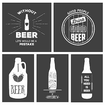 Emblemas de cervejaria artesanal vintage e elementos de design.