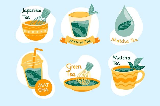 Emblemas de chá matcha verde japonês