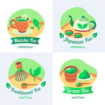 Emblemas de chá verde tradicional japanesse matcha