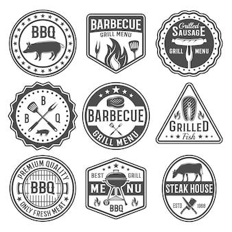 Emblemas de churrasco preto branco