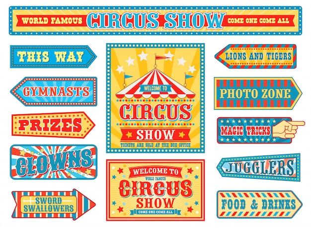 Emblemas de circo retrô, sinais de carnaval