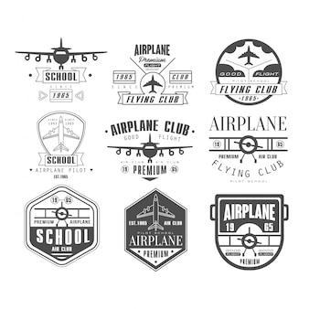 Emblemas de clube de avião monocromático