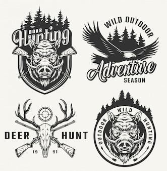 Emblemas de clube de caça vintage
