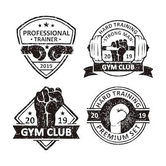 Emblemas de clube de ginástica vintage