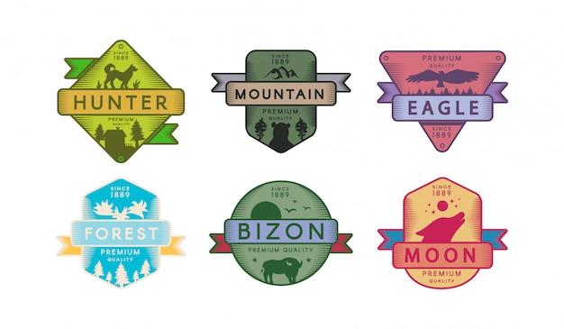 Emblemas de coleção animais e natureza conjunto logotipo