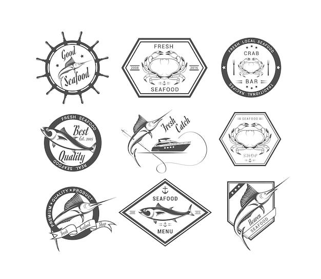 Emblemas de coleção de frutos do mar