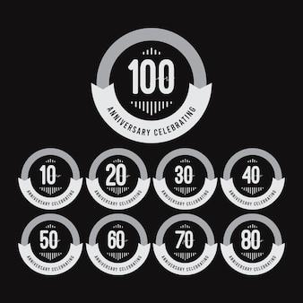 Emblemas de comemorações de aniversário de anos