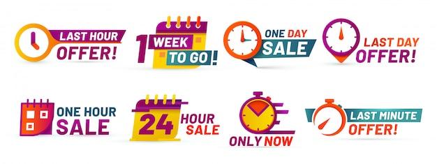 Emblemas de contagem regressiva de venda. banner de oferta de última hora, vendas de um dia e conjunto de adesivos promocionais de venda 24 horas