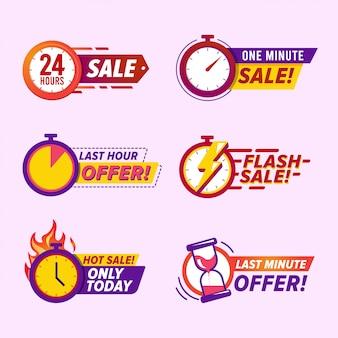 Emblemas de contagem regressiva de venda