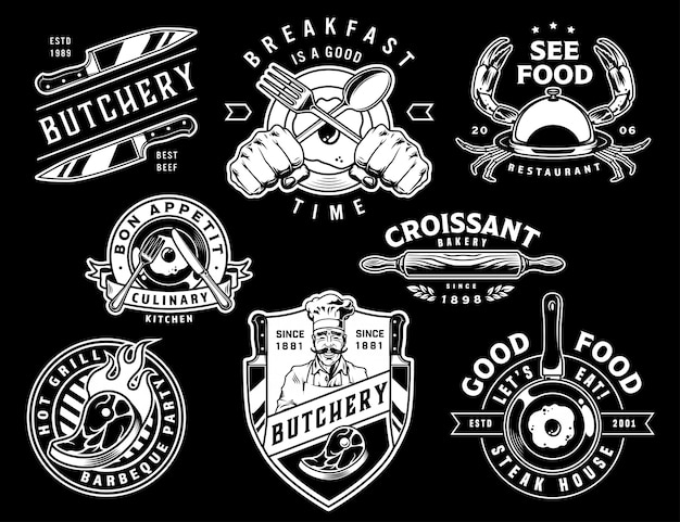 Emblemas de cozinha monocromáticos vintage