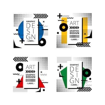 Emblemas de design gráfico em estilo geométrico