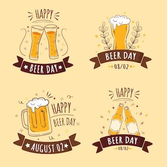 Emblemas de dia da cerveja design plano internacional
