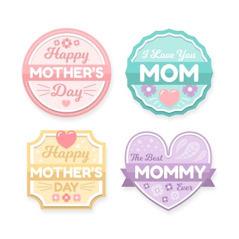 Emblemas de dia das mães de design plano