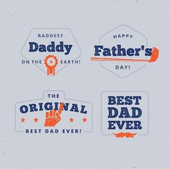 Emblemas de dia dos pais de design plano
