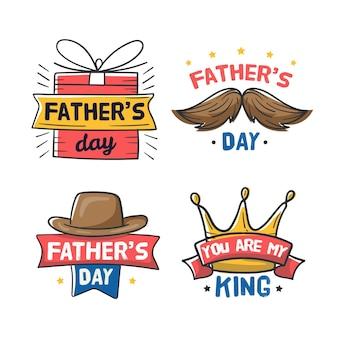 Emblemas de dia dos pais de mão desenhada