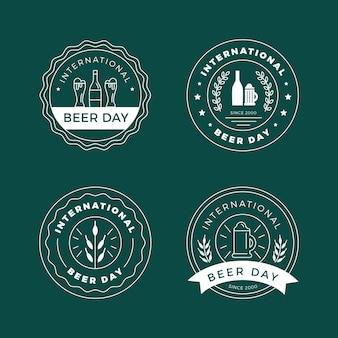 Emblemas de dia internacional da cerveja de design plano