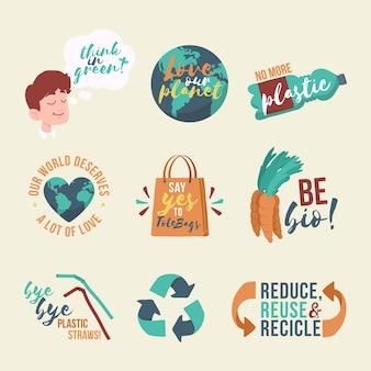 Emblemas de ecologia colorido mão desenhada