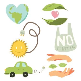 Emblemas de ecologia conjunto mão desenhada