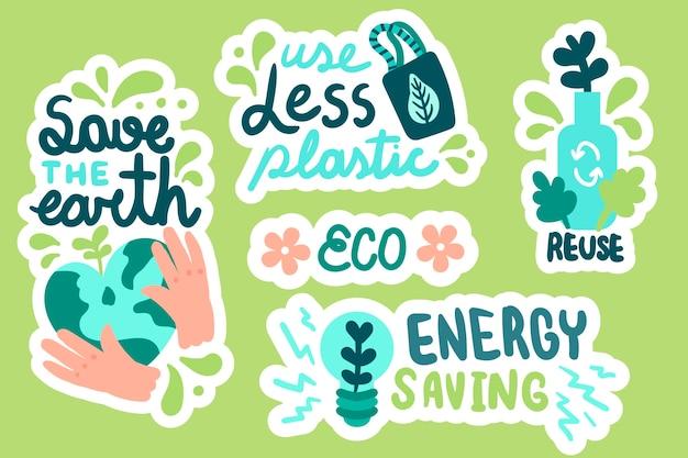 Emblemas de ecologia criativa mão desenhada