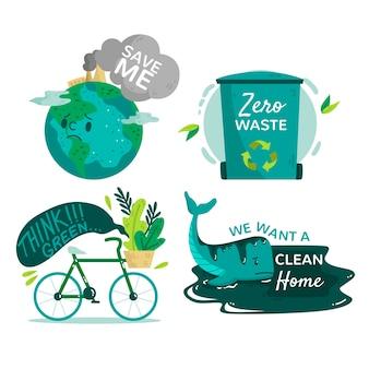 Emblemas de ecologia desenhados à mão