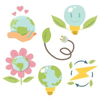 Emblemas de ecologia mão desenhada pacote
