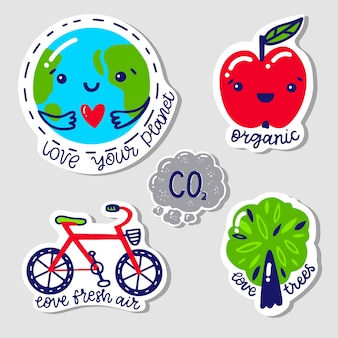 Emblemas de ecologia mão desenhada