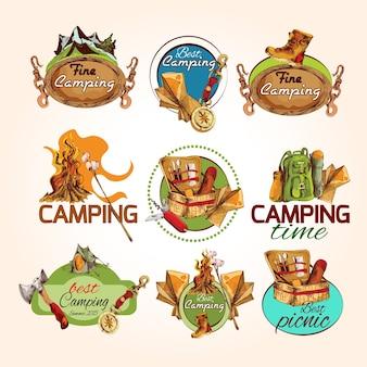 Emblemas de esboço de acampamento