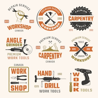 Emblemas de estilo retro de ferramentas de trabalho