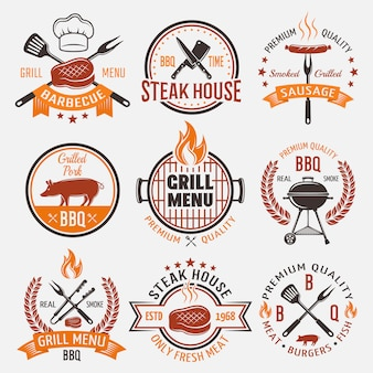 Emblemas de estilo retrô para churrasco