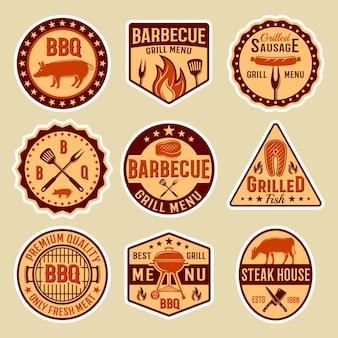 Emblemas de estilo vintage de churrasco