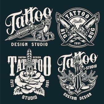 Emblemas de estúdio de tatuagem vintage