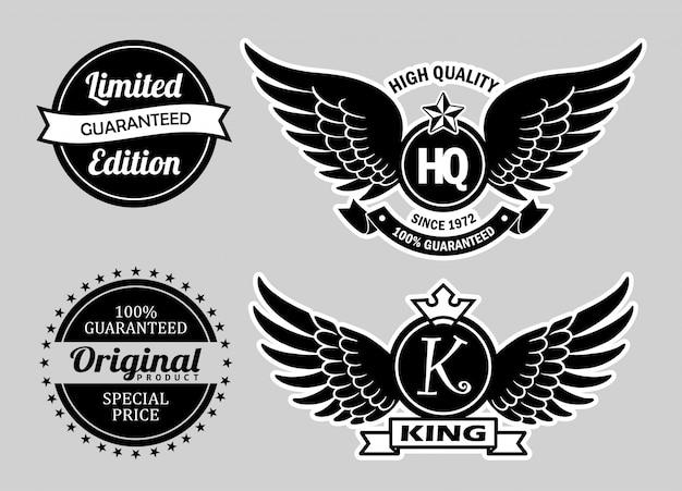 Emblemas de etiquetas de alta qualidade.