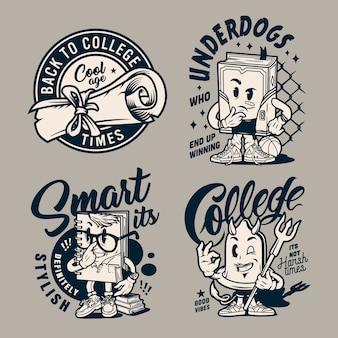 Emblemas de faculdade monocromático vintage