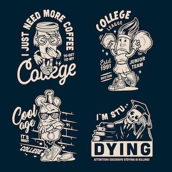 Emblemas de faculdade vintage monocromático