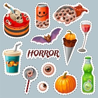 Emblemas de festa de halloween com tábuas de madeira, morcego.