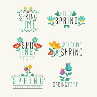 Emblemas de giro primavera com flores