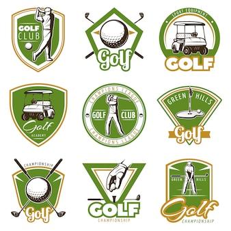 Emblemas de golfe vintage coloridos