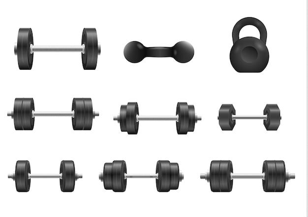 Emblemas de halteres de aço para musculação e fitness metal com halteres pretos Vetor Premium