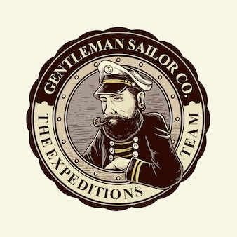 Emblemas de homem vintage retrô barbudo marinheiro com cor clássica