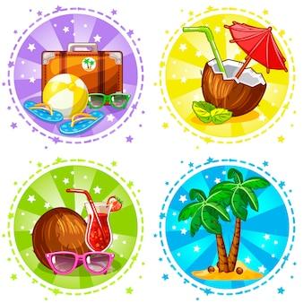 Emblemas de ilustração de férias e viagens